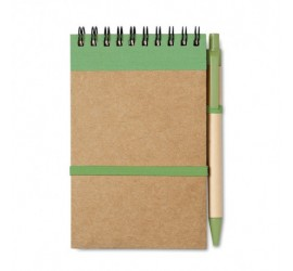 Notes na spirali z gumką i długopisem